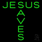 Green Jesus Saves Neon Sign