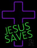 Green Jesus Saves Purple Cross Neon Sign