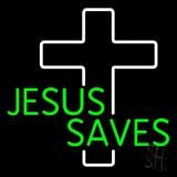 Green Jesus Saves White Cross LED Neon Sign