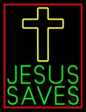 Green Jesus Saves Yellow Cross Neon Sign