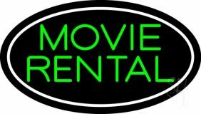 Green Movie Rental Neon Sign