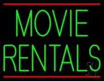 Green Movie Rentals With Line Neon Sign