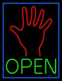 Green Open Psychic Blue Border Neon Sign