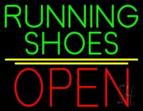 Green Running Shoes Open Neon Sign