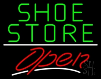 Green Shoe Store Open With Line Neon Sign
