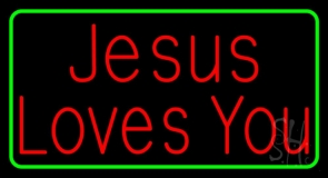 Jesus Loves You Green Border LED Neon Sign