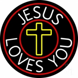 Jesus Loves You With Red Border Neon Sign
