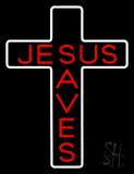 Jesus Saves White Cross Neon Sign