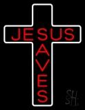 Jesus Saves White Cross LED Neon Sign