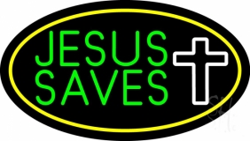 Jesus Saves White  Cross With Border LED Neon Sign