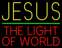 Jesus The Light Of World Green Line Neon Sign