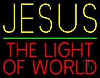Jesus The Light Of World Green Line LED Neon Sign