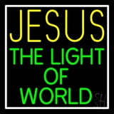 Jesus The Light Of World With Border LED Neon Sign