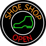 Orange Shoe Shop Open Neon Sign
