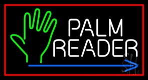 Palm Reader Arrow Red Border Neon Sign