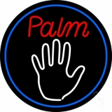 Palm Reader Logo With Blue Border Neon Sign