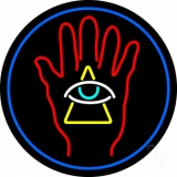 Palm With Eye Pyramid Neon Sign