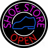Pink Shoe Store Open Neon Sign
