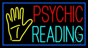 Psychic Reading Block Palm Blue Border Neon Sign