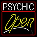 Psychic Red Border Yellow Open Neon Sign