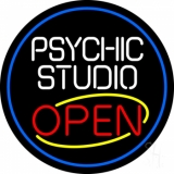 Psychic Studio Red Open Blue Border Neon Sign