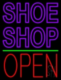 Purple Double Stroke Shoe Shop Open Neon Sign