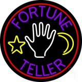 Purple Fortune Teller With Logo Neon Sign