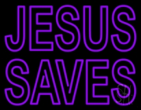 Purple Jesus Saves Neon Sign