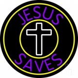 Purple Jesus Saves White  Cross Neon Sign