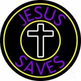 Purple Jesus Saves White  Cross LED Neon Sign