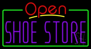 Purple Shoe Store Open Neon Sign