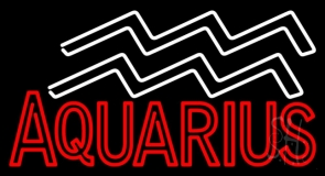 Red Aquarius Zodiac Neon Sign
