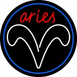 Red Aries White Aries Logo With Blue Circle Neon Sign