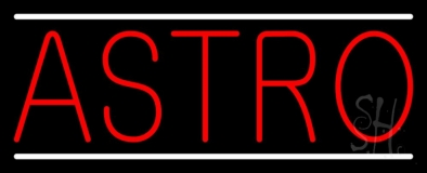 Red Astro White Line Neon Sign