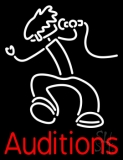 Red Auditions With Logo Neon Sign