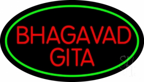 Red Bhagavad Gita With Border LED Neon Sign