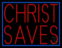Red Christ Saves With Border LED Neon Sign
