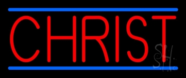 Red Christ With Line LED Neon Sign