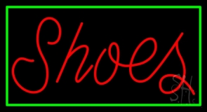 Red Cursive Shoes With Border Neon Sign