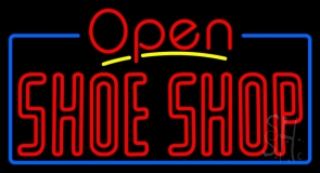 Red Double Stroke Shoe Shop Open Neon Sign