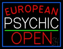 Red European White Psychic Red Open Green Line Neon Sign