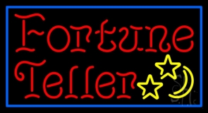 Red Fortune Teller Blue Border Neon Sign
