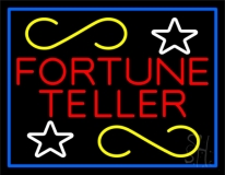 Red Fortune Teller With Blue Border Neon Sign