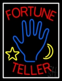 Red Fortune Teller With Logo And White Border Neon Sign