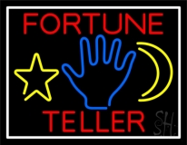 Red Fortune Teller With Logo Neon Sign