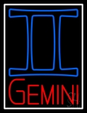 Red Gemini White Border LED Neon Sign