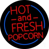 Red Hot And Fresh Popcorn With Border Neon Sign