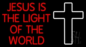 Red Jesus Is The Light Of The World Neon Sign
