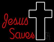 Red Jesus Saves With Cross Neon Sign
