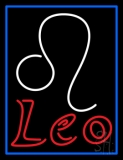 Red Leo Zodiac Blue Border Neon Sign